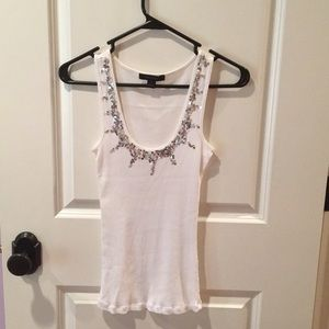 Express white tank top with silver sequins, Size S